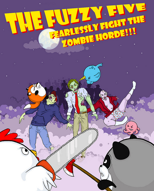 The Fuzzy Five Fearlessly Fight the Zombie Horde